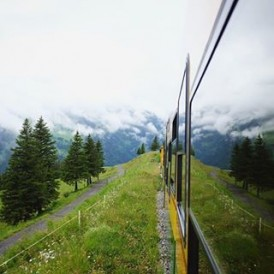 Heading up on the train to Jungfraujoch in the Swiss Alps Photo by @joshtaylorphotography
