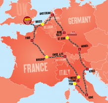 Europe Escape Tour Map