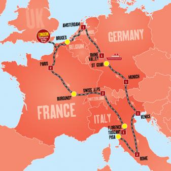 Europe Escape Tour Map