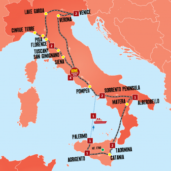 Italy Explorer Tour Map