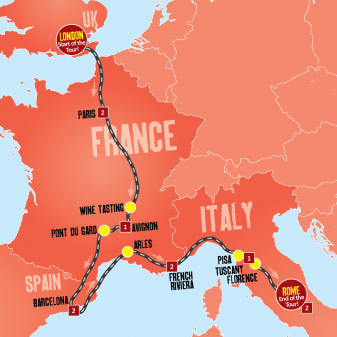 London to Rome map